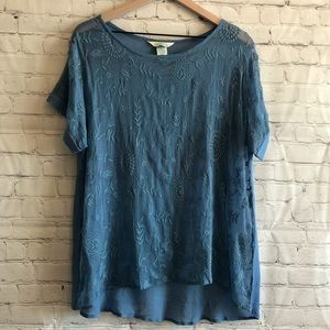 SUNDANCE || Sheer Blue Embroidered Tunic Top